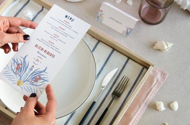 Invitaciones de boda playa mar peces-9906