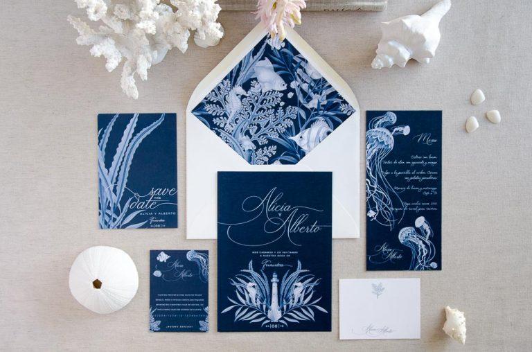 Invitaciones de boda playa mar peces-9980