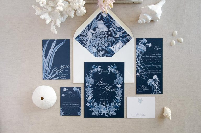 Invitaciones de boda playa mar peces-9988