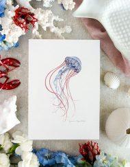 Decoracion de pared laminas botanicas acuarela-medusa