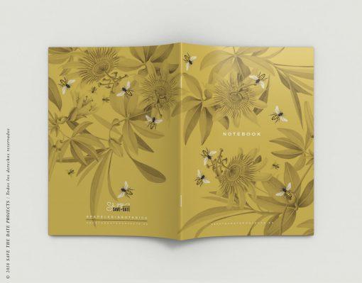 LIBRETA-dibujos-botanicos-bichos-abejas-mostaza-EXTERIOR