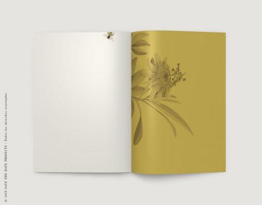LIBRETA-dibujos-botanicos-bichos-abejas-mostaza-INTERIOR-der