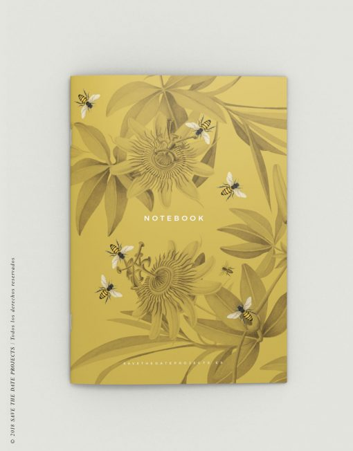 LIBRETA-dibujos-botanicos-bichos-abejas-mostaza-PORTADA