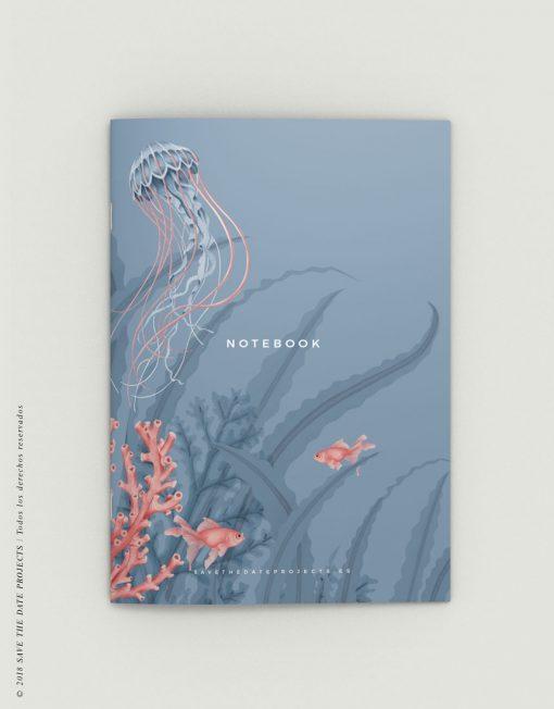 LIBRETA-dibujos-botanicos-mar-medusas-peces-PORTADA