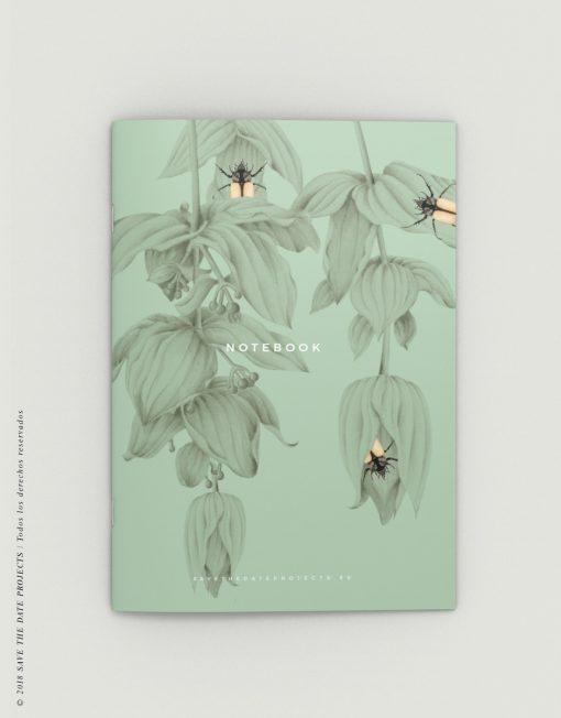 LIBRETA-dibujos-botanicos-selva-tropical-medinilla-escarabajo-PORTADA