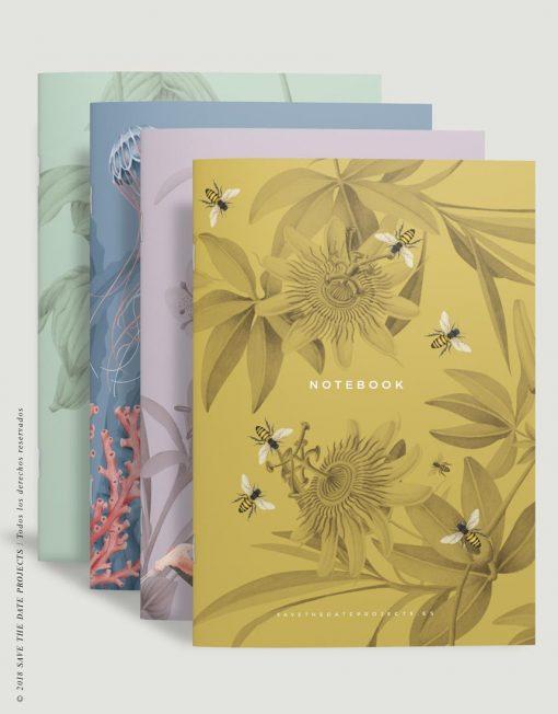 PACK-4-LIBRETA-dibujos-botanicos-abejas-passiflora-medinilla-medusas-2