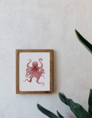 acuarela-botanica-pulpo-galicia-boda-marco-madera-1-OCTOPODA