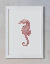 dibujo-acuarela-ilustracion-caballito-mar-marco-blanco-vertical-suelto-MAR-HIPPOCAMPUS-ROJO