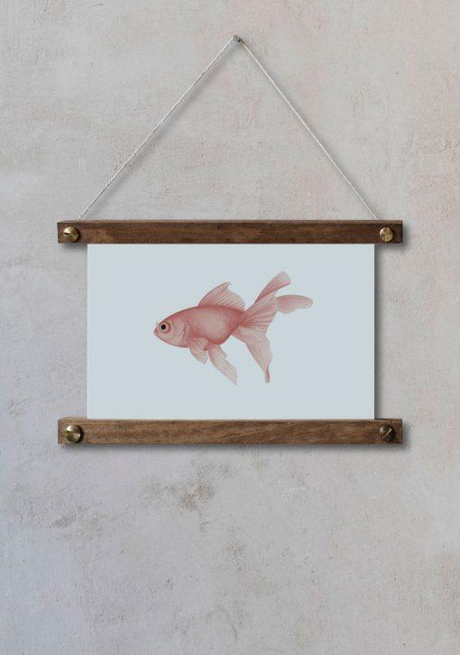 lamina-pared-marina-pez-rosa-palitos-HORIZONTAL-CARASSIUS-AURATUS-ROJO