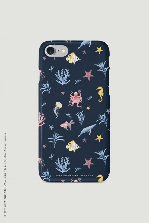 carcasa-iphone-7-OCEANO-INFANTIL-azul-mar-peces-medusas-coral-pulpos-cases-TRASERA