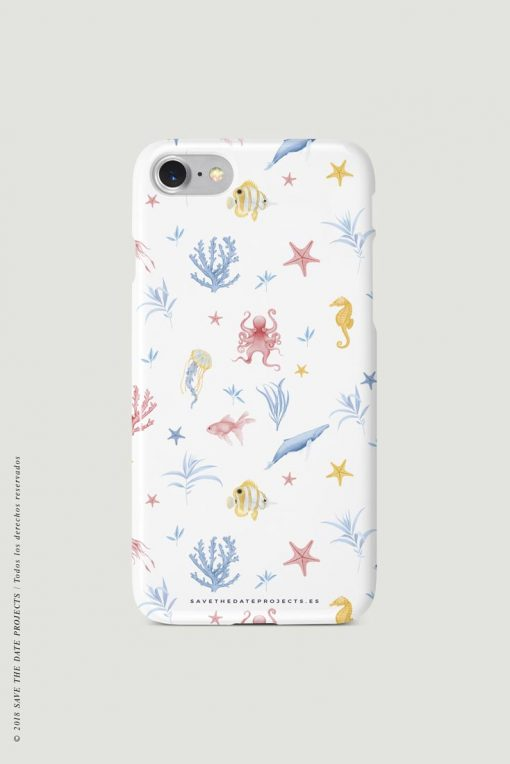 carcasa-iphone-7-OCEANO-INFANTIL-blanco-mar-peces-medusas-coral-pulpos-cases-TRASERA