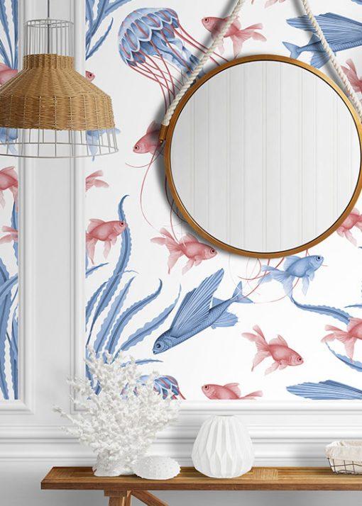 papel-pintado-recibidor-BANO-marinero-medusas-detalle