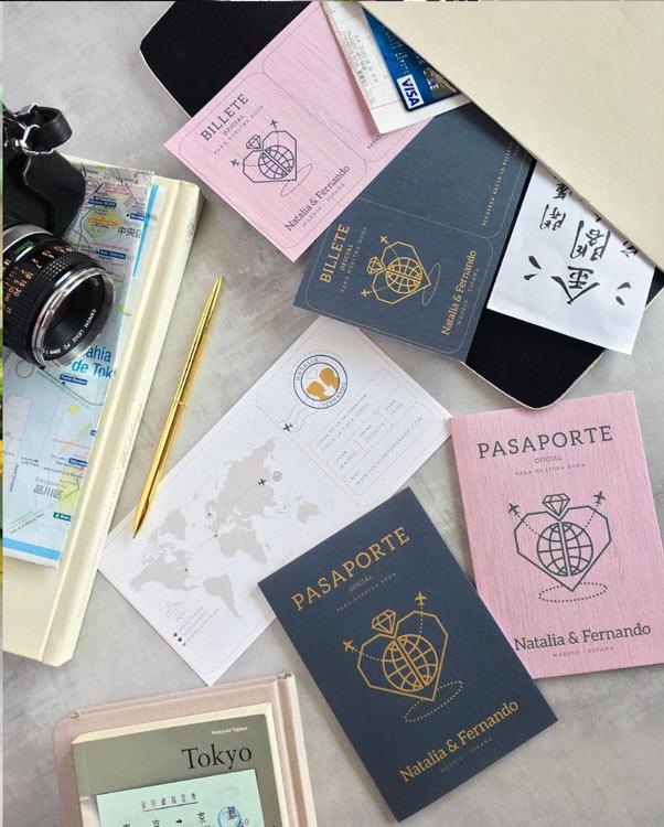 Invitaciones-de-boda-pasaporte-viajes-billete-vintage