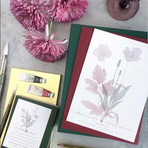 Invitaciones-de-boda-vintage-monocromo-flores-acuarela