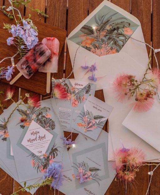 Invitaciones de boda tropicales bahamas azul pez