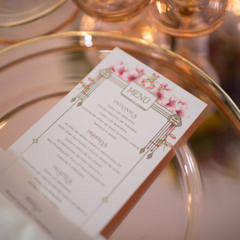 Minutas para boda personalizadas con dorado