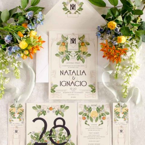 Papeleria de boda vintage con logo de novios