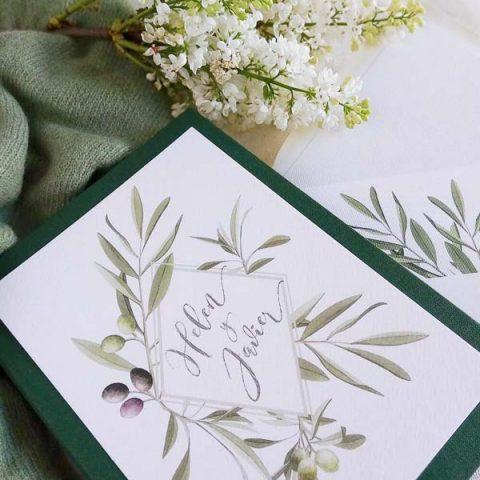 Tarjetas de boda con formas geometricas y naturaleza