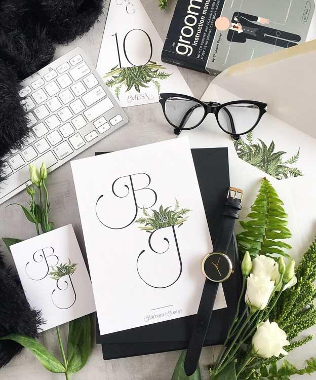Tarjetones boda helechos tendencias 2019 minimal