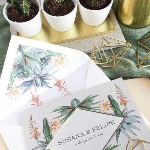 Tendencias bodas 2019 cactus dorado brillante