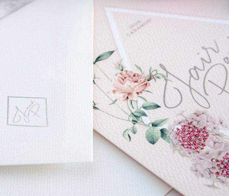 tarjetas de boda invitaciones acuarela con logo novios