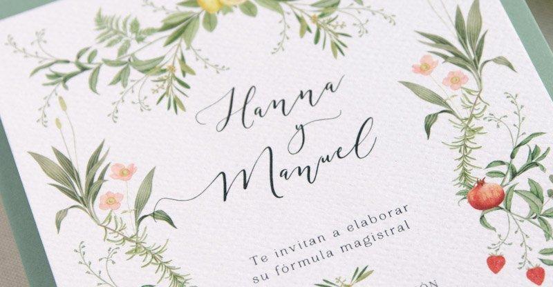Invitacion boda caligrafia lettering dibujos