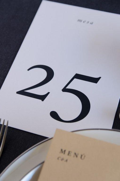 MEsero numero mesa boda sencillo