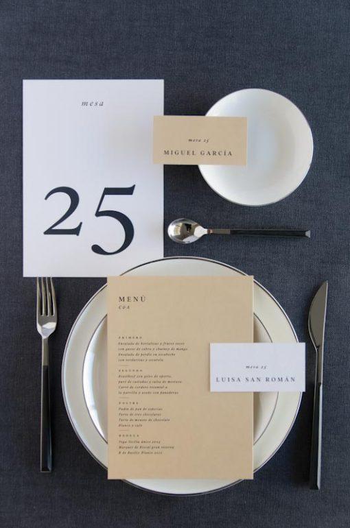 Numero de mesa boda personalizado otono