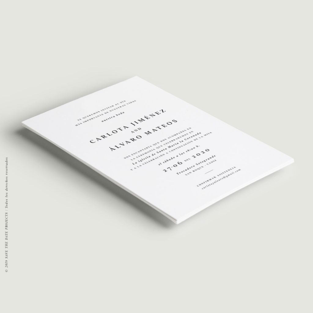 invitacion boda moderna otono limpia elegante urban