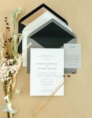 sobres para invitaciones de boda gris y negro forrado