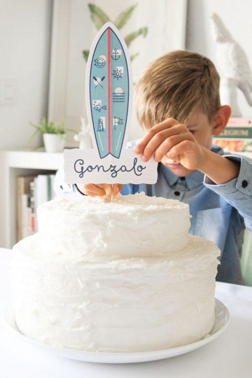 cake topper de comunion nino surf 4