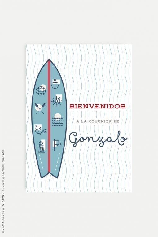 cartel bienvenida personalizado comunion nino surf