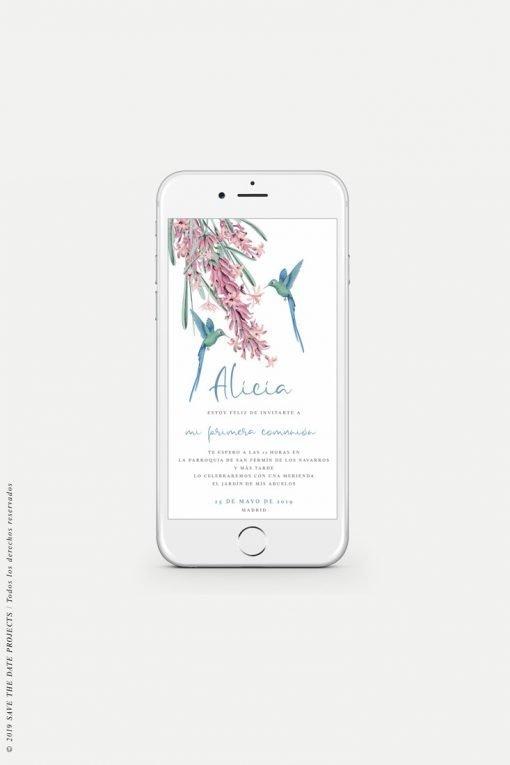 invitacion de comunion nina digital personalizada colibri