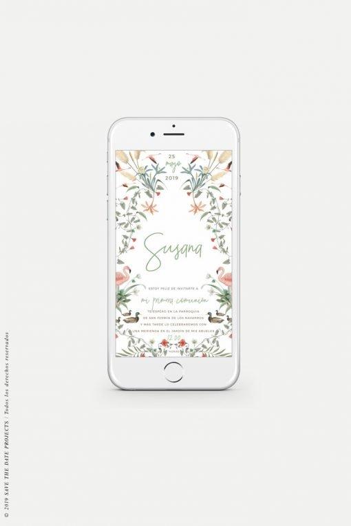 invitacion de comunion nina digital personalizada flamencos
