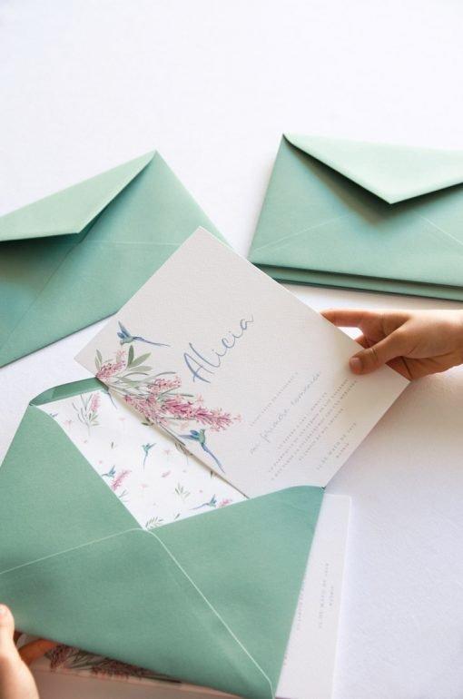 invitaciones de comunion nina colibri 3