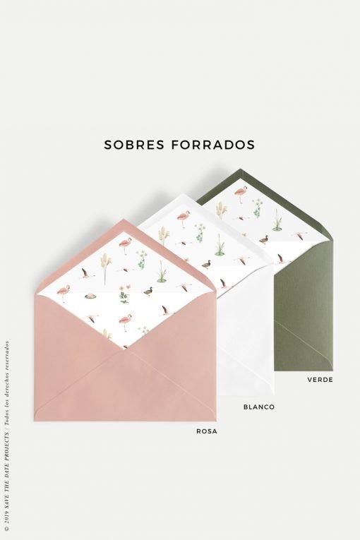 sobres forrados para invitaciones de primera comunion flamencos
