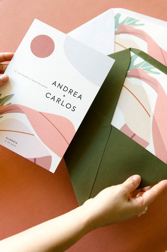 Sobres para Invitaciones de boda minimalista con sobres