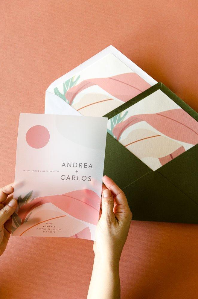 Invitaciones con sobres forrados california
