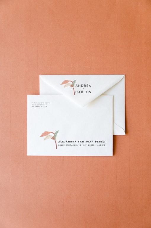 sobres de boda originales impresos VERANO CALIFORNIA
