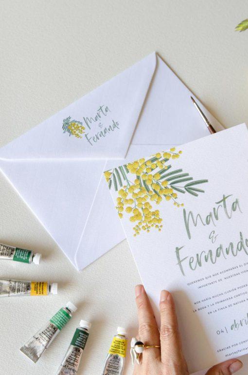 Impresion Remite Sobres boda mimosas