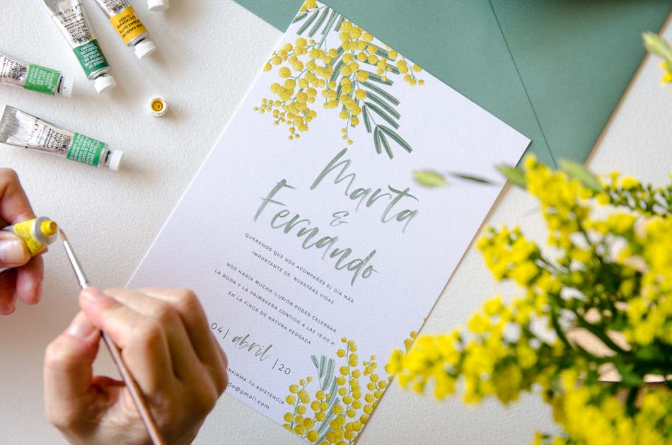 Invitaciones de boda con flores Mimosas