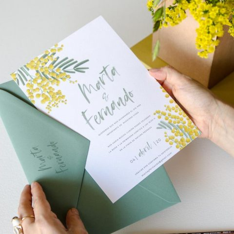 Invitaciones de boda originales mimosa