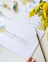 caligrafia sobres boda direcciones invitacios mimosas