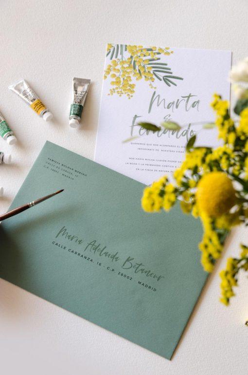caligrafia sobres forrados boda mimosas