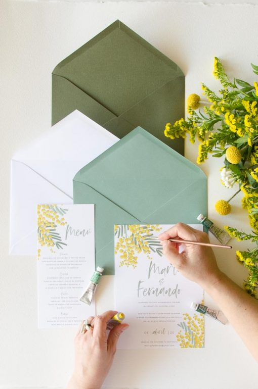 coleccion invitacion con flores mimosas papeleria