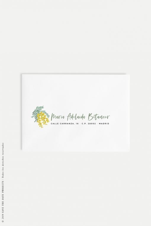 direcciones caligrafia sobres para boda mimosas