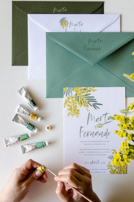 impresion sobres boda solapas mimosas