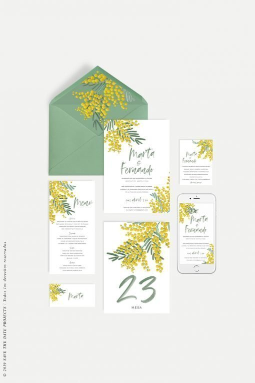 invitacion boda LETTERING flores mimosas