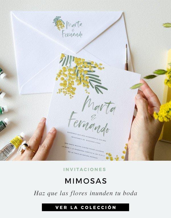 invitacion con flores de mimosas cuadrada