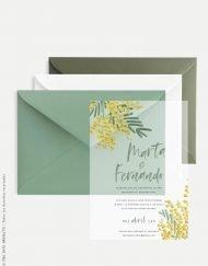 invitacion de boda flores con lettering en papel transparente